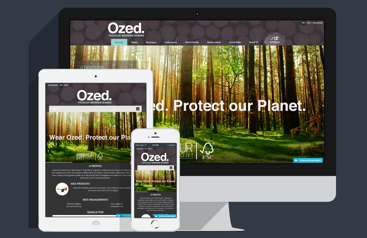 Webdesign de l'e-boutique ozed.fr